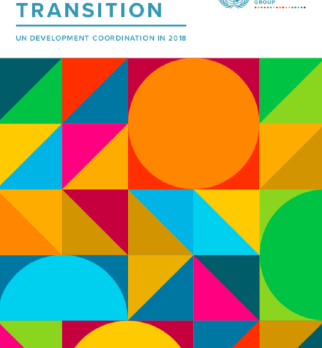 Results in Transition cover image showing vibrantly coloured geometric shapes.s