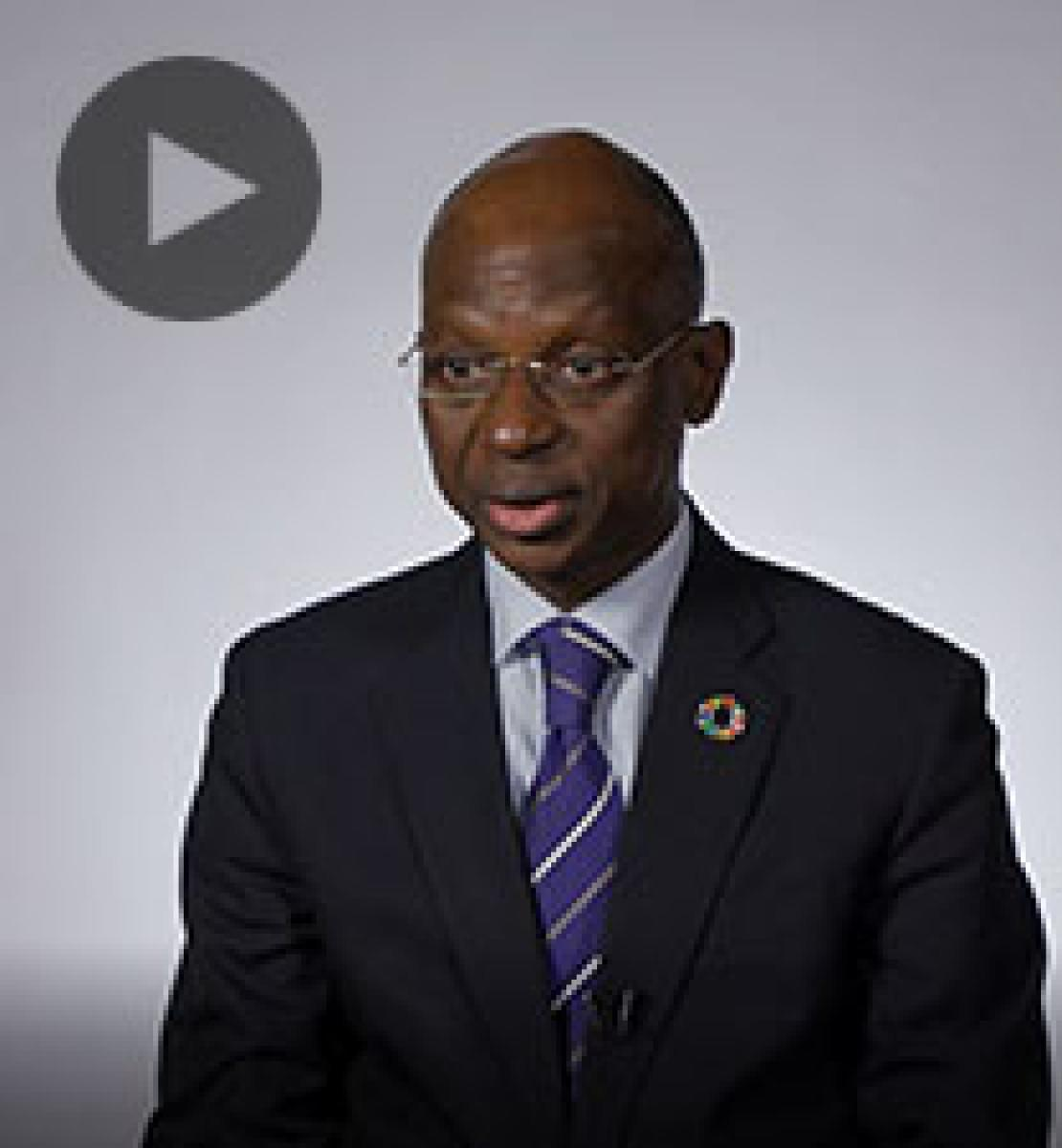 Screenshot from video message shows Resident Coordinator, Siaka Coulibaly