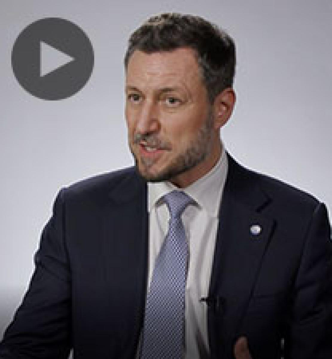 Screenshot from video message shows Resident Coordinator, Arnaud Peral