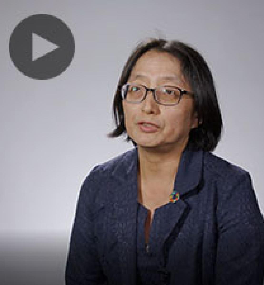 Screenshot from video message shows Resident Coordinator, Mikiko Tanaka