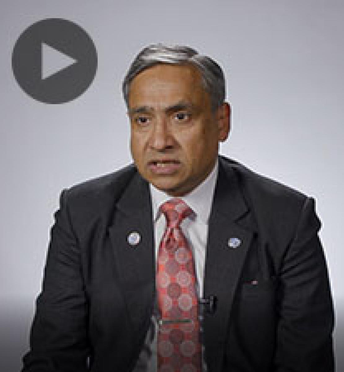 Screenshot from video message shows Resident Coordinator, Tapan Mishra