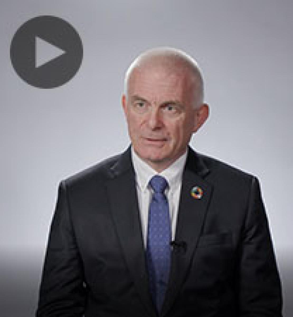 Screenshot from video message shows Resident Coordinator, Knut Ostby