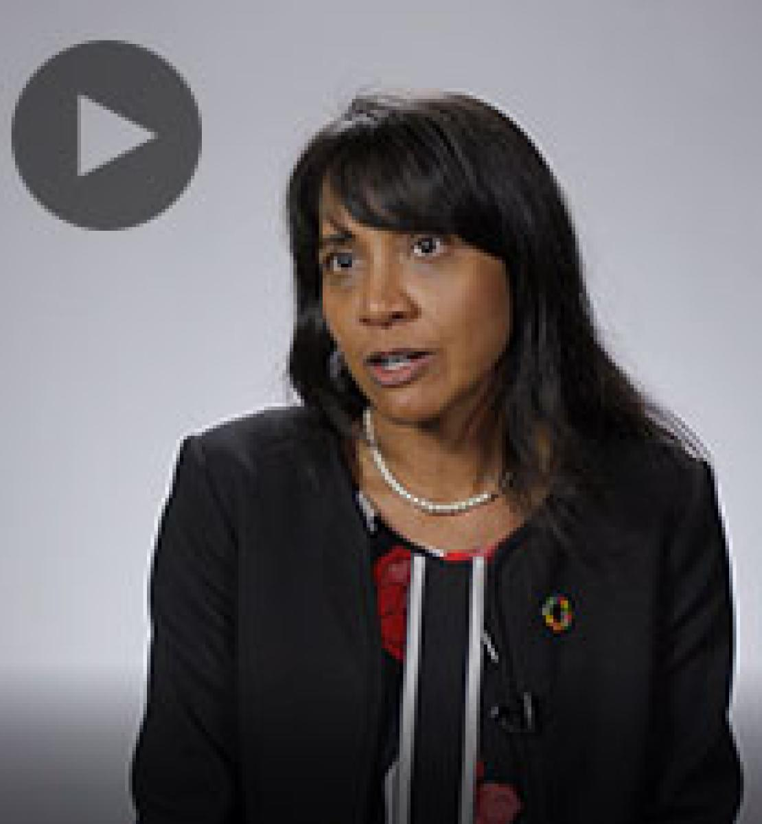 Screenshot from video message shows Resident Coordinator, Priya Gajraj
