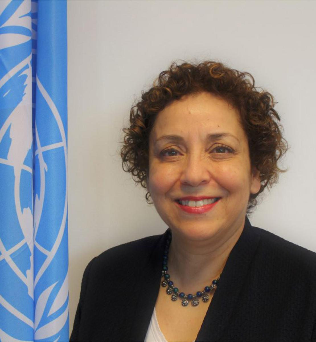 Photo shows a medium close-up of Sezin Sinanoglu standing in front of a white wall and the UN flag.