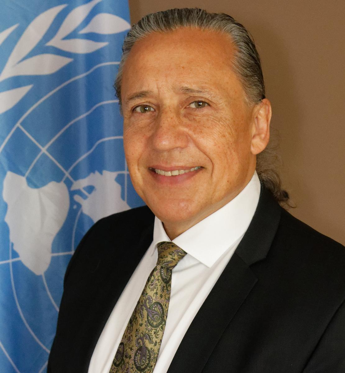 Foto oficial muestra a Gustavo González delante de la bandera de la ONU.