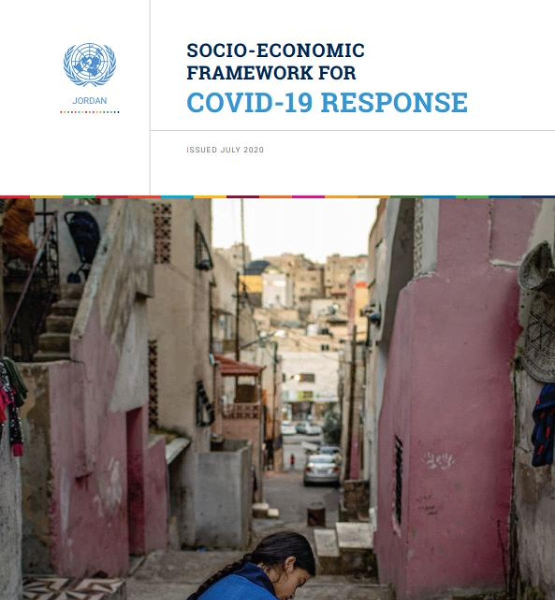 """Cover shows the the title, """"Socio-Economic Framework for COVID-19 Response for Jordan"""" with a image of a girl with a blue dress studying outside"""