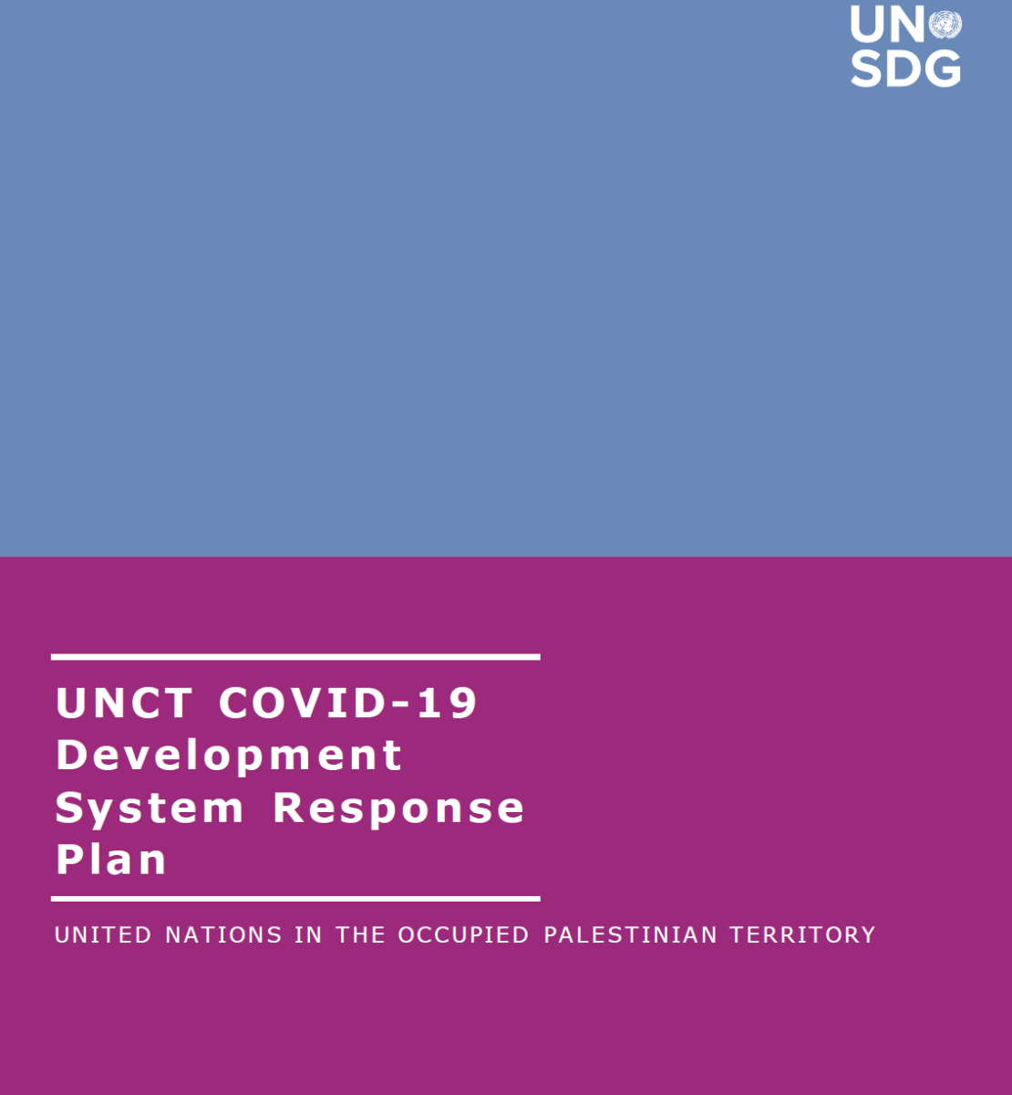 """Cover shows the title """"UNCT COVID-19 Development System Response Plan for Occupied Palestinian Territory"""" over blue and purple background."""