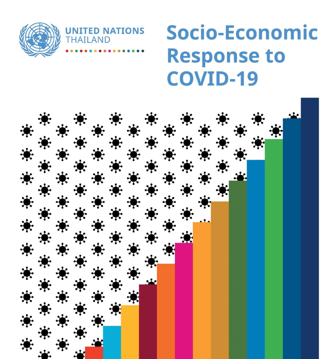 """Cover shows the title """"Socio-Economic Response to COVID-19 for Thailand"""" with virus looking black dots and colorful bars."""