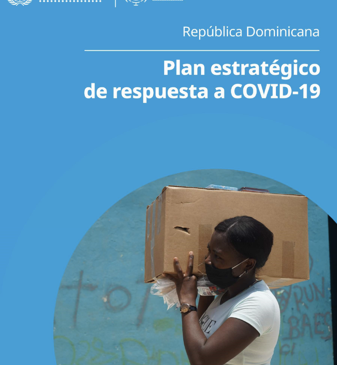 The blue cover contains an image of a woman wearing a face covering carrying a box above her shoulders, with the title in Spanish just above.