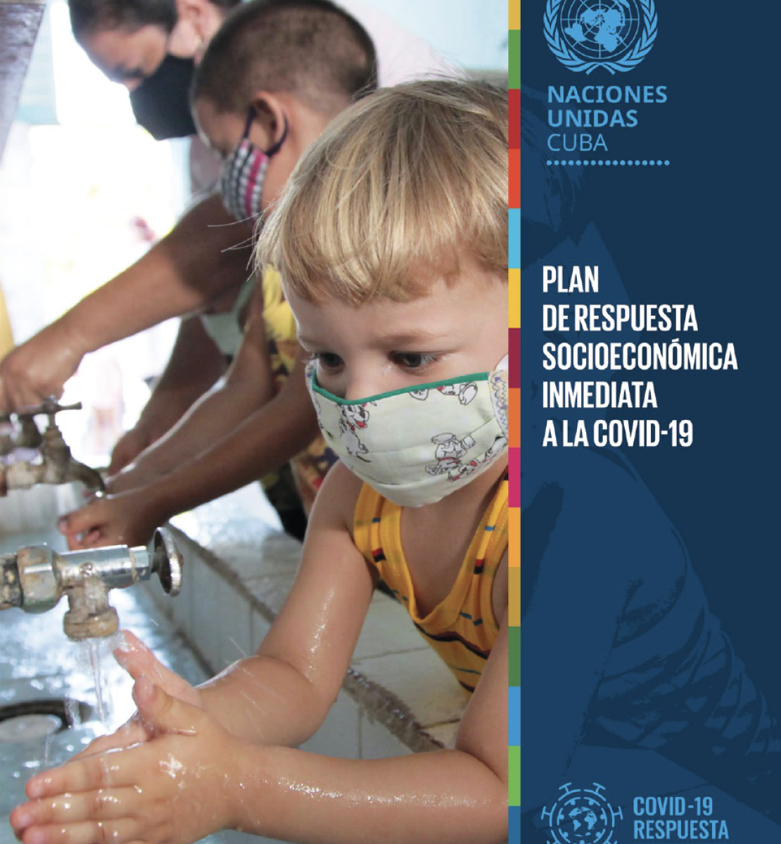 The cover shows on the left a photo of children and adults washing their hands with the title to the right in white against a blue vertical overlay.