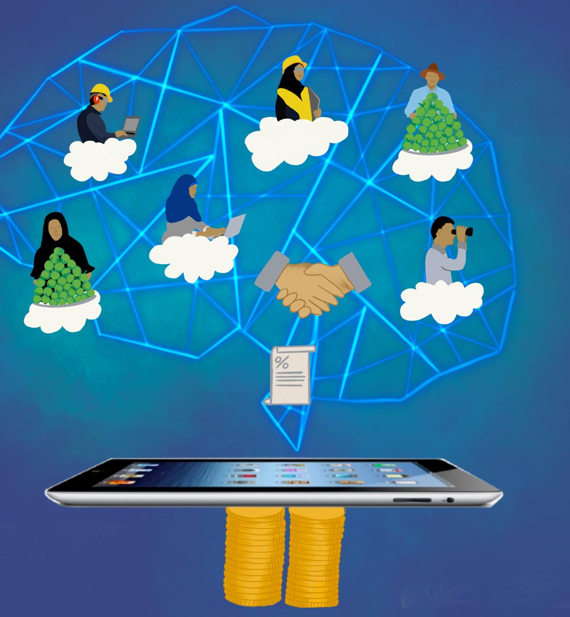 A variety of cartoon people interconnected via idea bubbles in the shape of a brain all arising from an Ipad.
