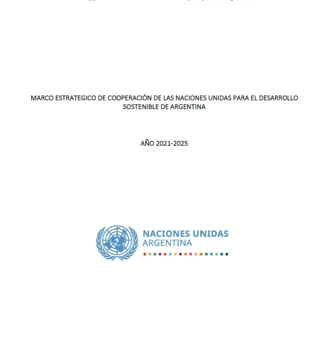 White background with blue text.  Features United Nations Argentina logo to the top left and the government of Argentina logo to the top right