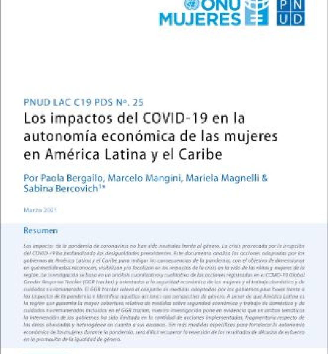 Primera página, que hace las veces de portada, de la investigación sobre los impactos del COVID-19 en la autonomía económica de las mujeres en América Latina y el Caribe.