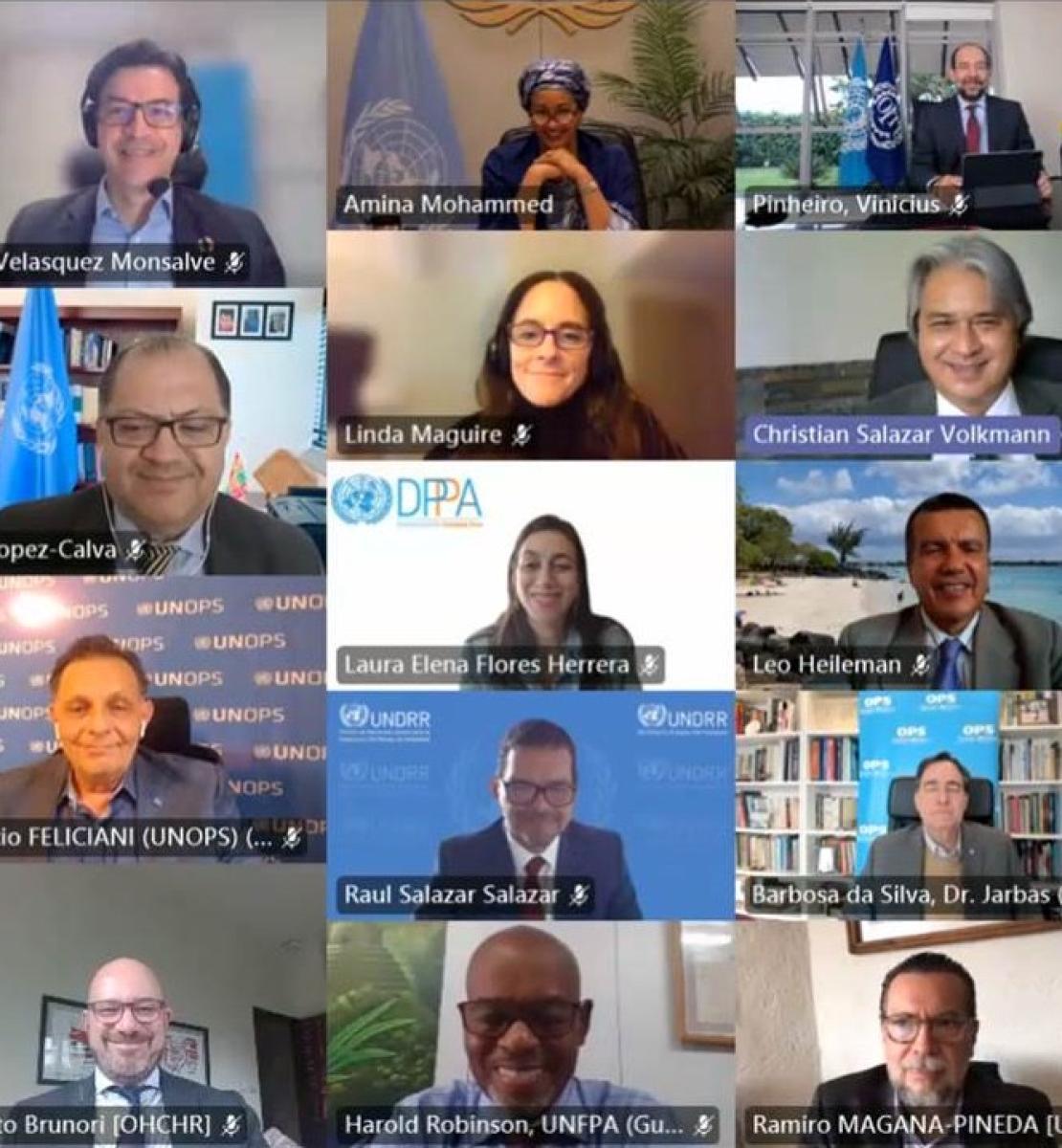 Capture d'écran montrant des hommes et des femmes participant à la réunion en ligne de la plateforme de collaboration régionale pour l'Amérique latine et les Caraïbes.