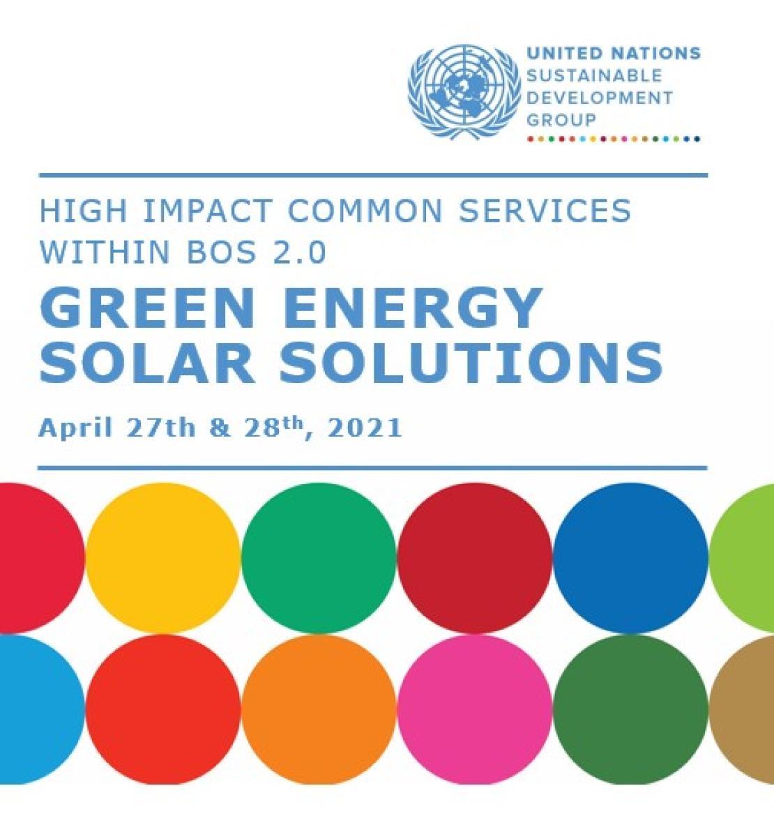 """Page de couverture sur laquelle on peut lire le titre """"Green Energy Solar solutions"""" et où figurent le logo du GNUDD et une série de cercles aux couleurs vives."""