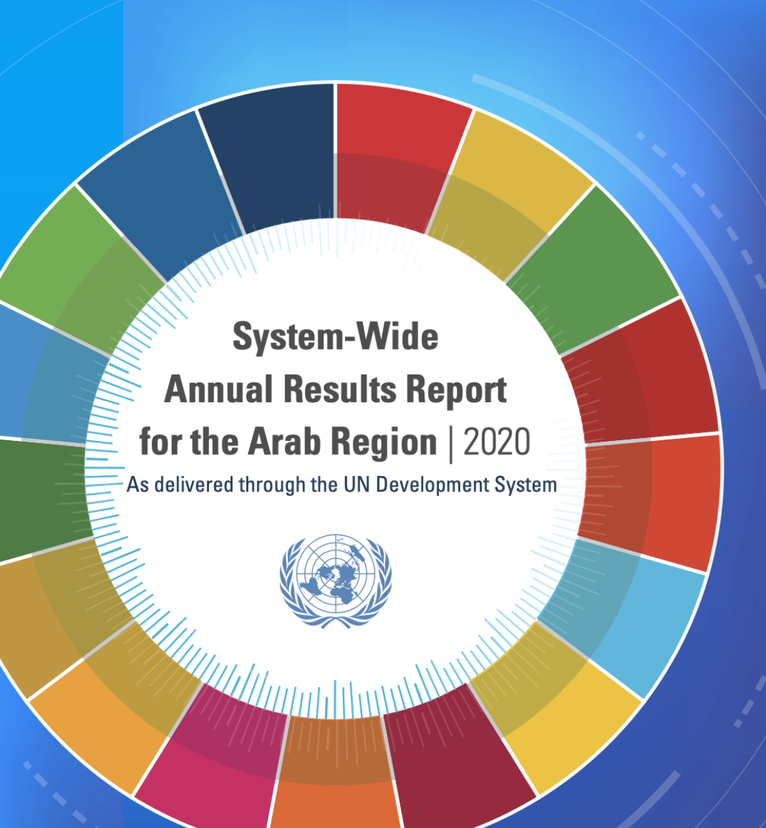 A colorful image of the cover for the Annual Report and the United Nations Logo