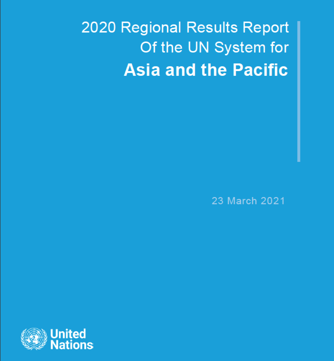 Blue cover shows the title in white letters at the top right and the UN emblem on the bottom left.