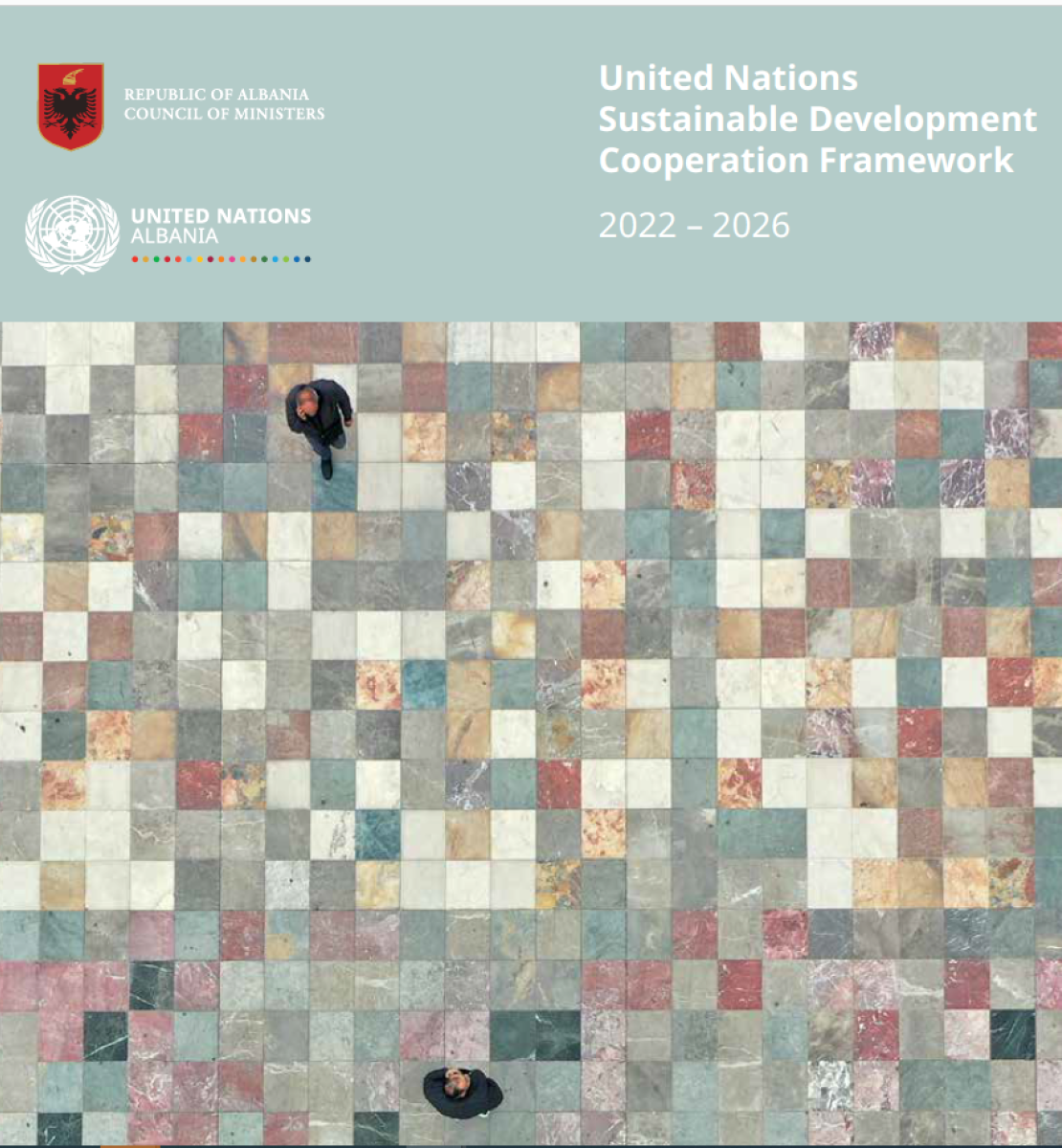 This is a document with a light green background and a tiled image on the cover.  The UN and Government of Armenia logos appear on the top left of page.