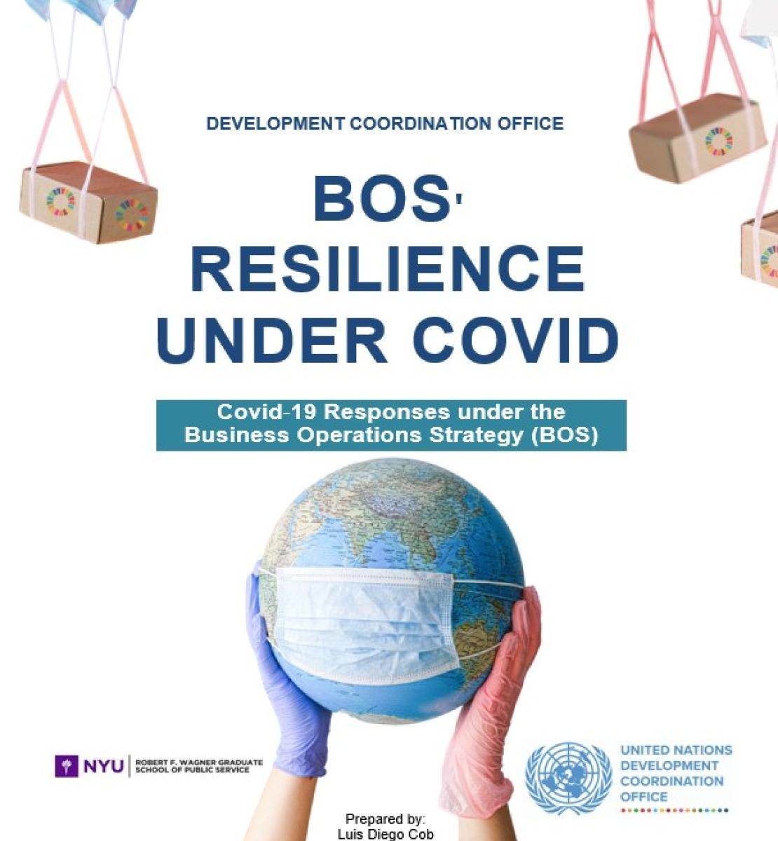 """The image reads the title """"BOS' resilience under Covid: Covid 19 responses under the Business Operations Strategy. The image shows two hands with gloves holding up a 3-D globe with a face mask. There are boxes with SDG symbols coming down from the top with parachutes made of face masks."""