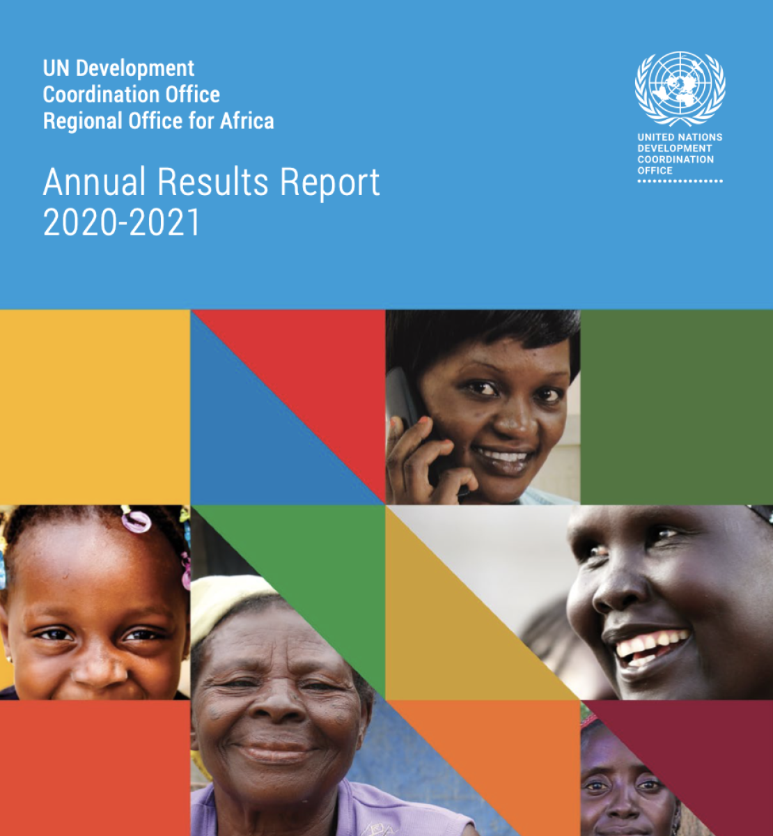 غلاف ملون للتقرير السنوي 2020-2021 مع وجوه أشخاص عدة يبتسمون للكاميرا.