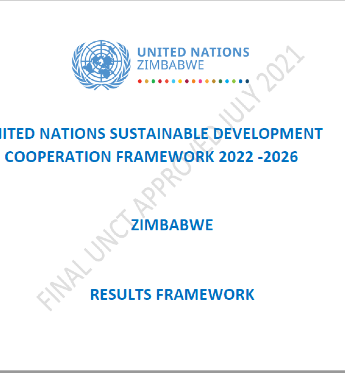 White background and blue text.  UNCT logo appears to the top centre of the page.