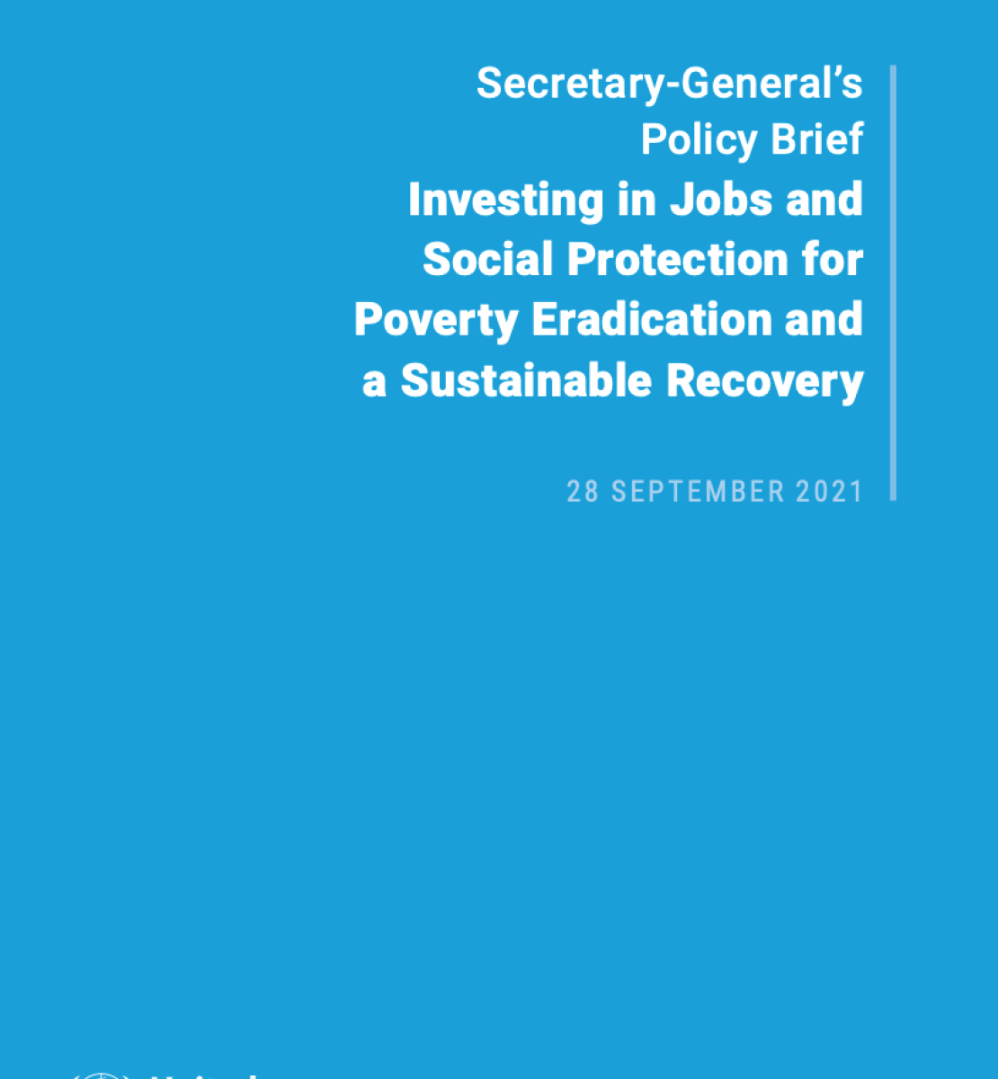 موجز سياساتي على خلفية زرقاء مع عنوان باللون الأبيض في أعلى اليمين وشعار الأمم المتحدة في أسفل اليسار.