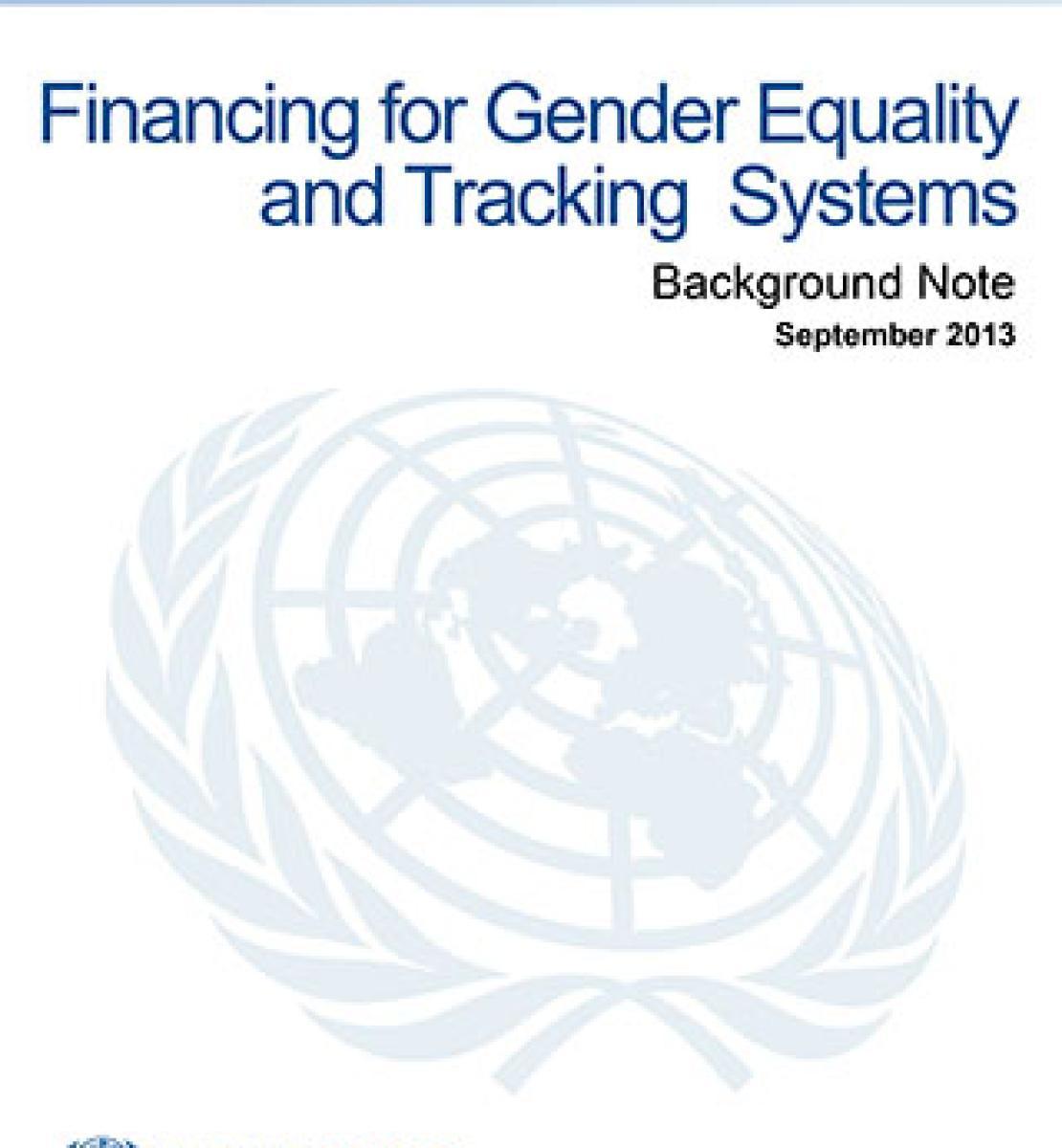 Financement de programmes pour l'égalité des sexes et dispositifs de suivi des investissements - Note d'information