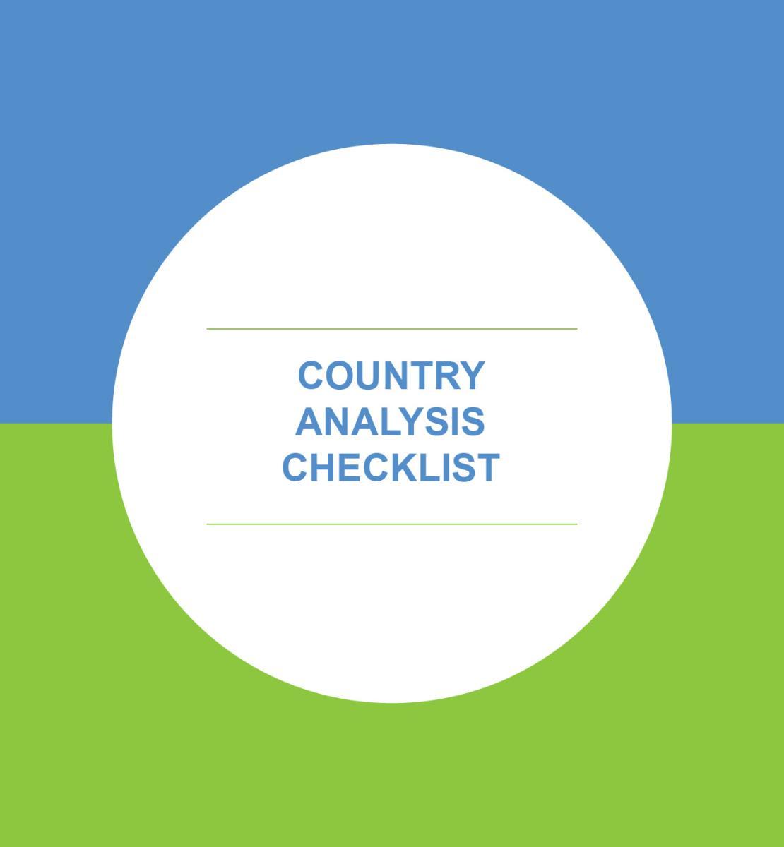 Liste de contrôle à utiliser dans le cadre de l'analyse de pays